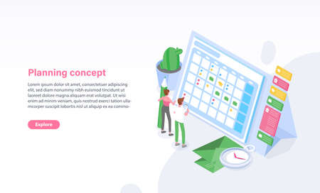Website template with man and woman standing in front of schedule, timetable or calendar. Planning, task management, organization of time, arrangement of appointments. Isometric vector illustration.