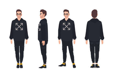 Cute man wearing hoodie and sunglasses. Stylish guy dressed in trendy clothes. Male cartoon character isolated on white background. Street style outfit. Front, side, back views. Vector illustration Stock Illustratie