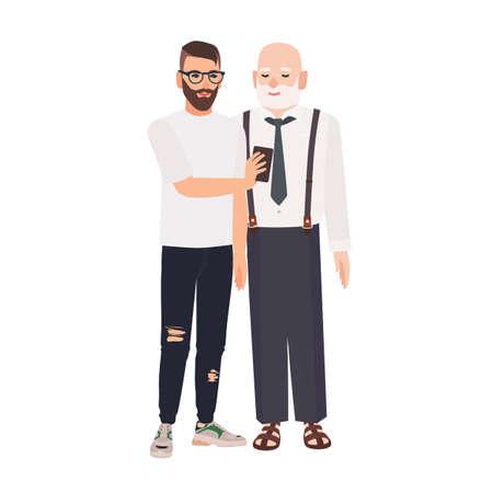 Nieto demostrando smartphone a su abuelo. Lindo anciano sonriente y joven pasar tiempo juntos. Amistad entre abuelo y nieto. Ilustración de vector de dibujos animados plana