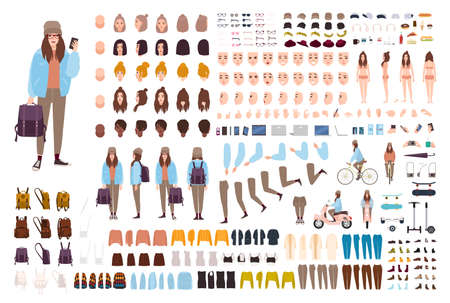 Young hipster woman creation kit. Collection of flat female cartoon character body parts, facial gestures, postures, clothing, stylish accessories isolated on white background. Vector illustration
