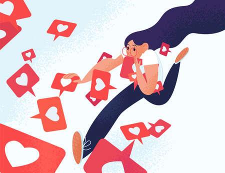 Junge Frau, die wie Benachrichtigungen läuft und greift. Mädchen süchtig nach Social Media und Online-Feedback. Sucht nach Internet-Zulassung und -Validierung. Vektorillustration im flachen Cartoon-Stil