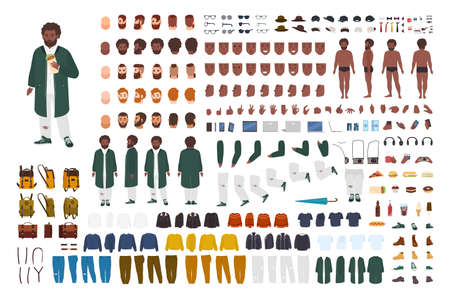 Fat African American man constructor set of bouwpakket. Bundel van platte stripfiguur lichaamsdelen, houdingen, gebaren, kleding geïsoleerd op een witte achtergrond. Voor-, zij-, achteraanzicht. vector illustratie
