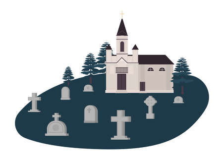 Old graveyard, cemetery or churchyard with graves, headstones or gravestones and Christian church, kirk or chapel. Place for burial of dead bodies. Colorful vector illustration in flat cartoon style.