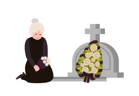 Sorrowful elderly woman dressed in mourning clothes crying near grave with headstone and wreath. Sad widow grieving on graveyard or cemetery. Colorful vector illustration in flat cartoon style