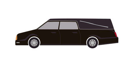Black hearse isolated on white background. Automobile carrying dead body. First Call vehicle, funeral transport, burial transportation service. Colorful vector illustration in flat cartoon style
