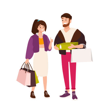 Funny couple carrying shopping bags and boxes. cute boyfriend and girlfriend holding their purchases. Pair of shopaholics. Cartoon characters isolated on white background. Flat vector illustration Illustration