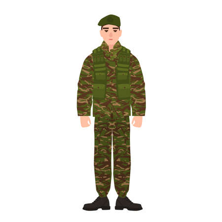 Military man or serviceman dressed in army camouflage uniform. Soldier, footman or infantryman isolated on white background. Male cartoon character. Colorful vector illustration in flat cartoon style
