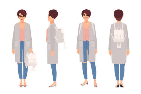 Young woman with short hair and glasses dressed in coat and holding backpack. Female cartoon character isolated on white background. Street style look. Front, side, back views. Vector illustration