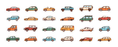 Bundle of cars of different body configuration styles - cabriolet, sedan, pickup, hatchback, van. Set of modern automobiles or motor vehicles of various types. Vector illustration in line art style