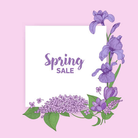 Square card with Spring Sale lettering decorated by beautiful blooming seasonal garden flowers. Natural springtime decoration. Floral realistic hand drawn vector illustration in vintage style