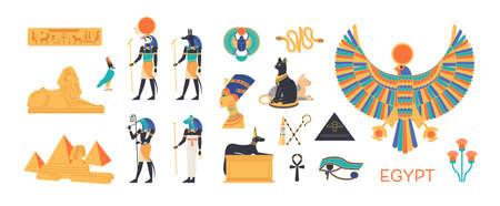 Ancient Egypt set - gods, deities of Egyptian pantheon, mythological creatures, sacred animals, holy symbols, hieroglyphs, architecture and sculpture. Colorful flat cartoon vector illustration