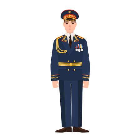 Militare delle forze armate russe che indossano l'uniforme completa. Fante in parata isolato su sfondo bianco. Personaggio dei cartoni animati maschile. Illustrazione vettoriale colorata in stile cartone animato piatto Vettoriali