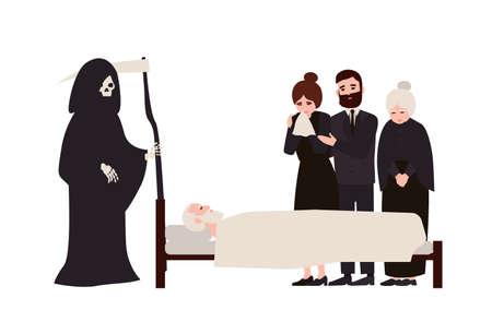 Grupo de gente triste vestida con ropa de luto y Grim Reaper con guadaña de pie cerca de la persona muerta. Parientes afligidos llorando cerca de un miembro de la familia fallecido. Ilustración vectorial de dibujos animados plana