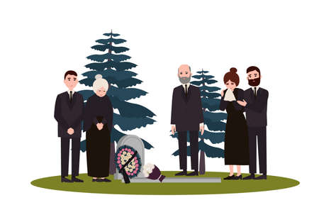 Men and women dressed in mourning clothes standing near grave with tombstone and wreath. Grieving people or family on graveyard or cemetery. Colorful vector illustration in flat cartoon style