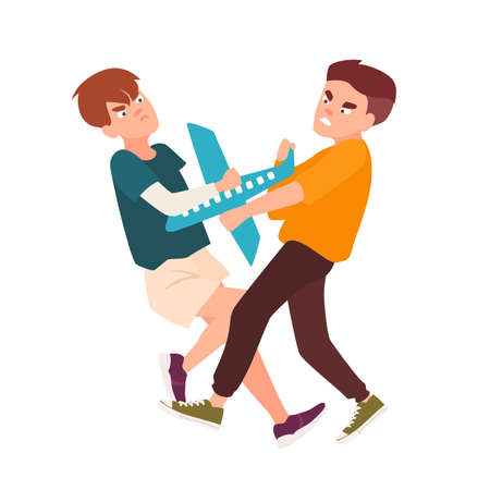 Pair of angry fighting children. Conflict between kids because of toy aircraft, violent behavior among teenagers. Cartoon characters isolated on white background. Vector illustration in flat style.