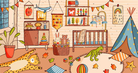 Interior of nursery or baby room full of furniture and home decorations - crib or cot bed, carpet, shelf, houseplant, flag garlands, children s toys scattered on carpet. Cartoon vector illustration.