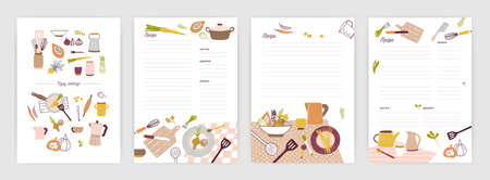 Collection of recipe card or sheet templates for making notes about meal preparation and cooking ingredients. Empty cookbook pages decorated with colorful crockery and vegetables. Vector illustration