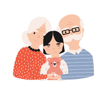 Portrait of grandfather, grandmother and granddaughter. Grandma and grandpa embracing their grandchild. Adorable cartoon characters isolated on white background. Colorful flat vector illustration