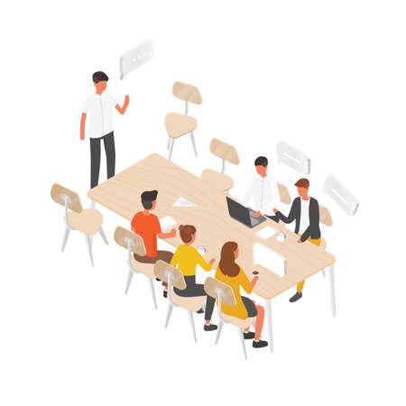 Gruppo di persone o impiegati seduti al tavolo e parlare tra loro. Riunione di lavoro, discussione formale, comunicazione di gruppo, brainstorming, trattativa d'affari. Illustrazione vettoriale isometrica Vettoriali