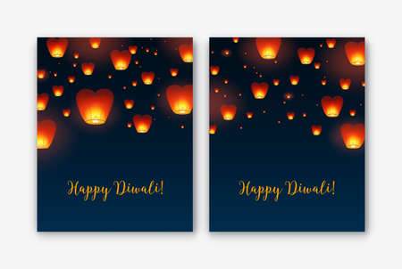 Bundle of flyer or poster templates with Kongming lanterns flying in evening sky. Colorful vector illustration for traditional Diwali, Yee Peng and Chinese mid autumn festivals, holiday celebration