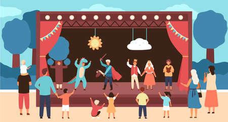 Teatro di strada per bambini con attori vestiti in costume che eseguono giochi o fiabe davanti al pubblico. Spettacolo teatrale all'aperto per bambini. Illustrazione vettoriale in stile cartone animato piatto