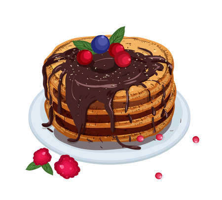 Delicious pancakes topped with chocolate sauce and berries lying on plate isolated on white background. Appetizing homemade dessert. Tasty cooked sweet breakfast. Colored vector illustration