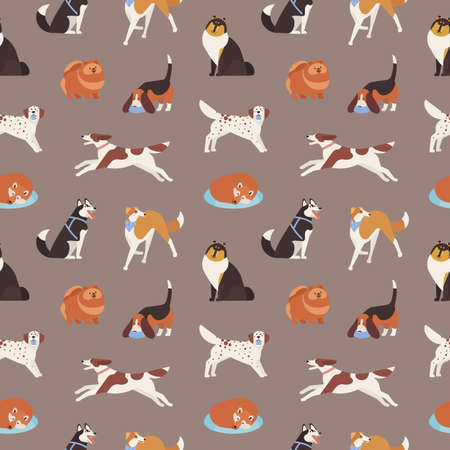Seamless pattern with cute dogs of various breeds playing, running, walking, sitting, sleeping. Backdrop with adorable cartoon pet animals on grey background. Flat cartoon vector illustration