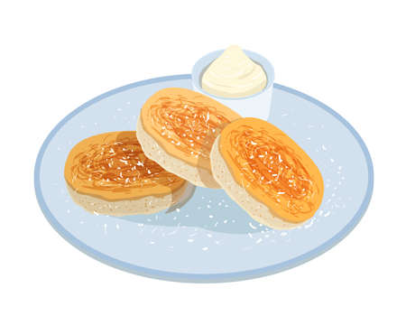 Tasty pancakes, oladyi or syrniki lying on plate with sour cream isolated on white background. Appetizing homemade meal of Russian cuisine. Delicious cooked breakfast. Colored vector illustration