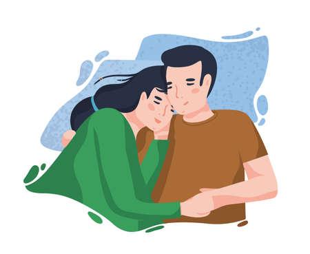 Ritratto di coppia romantica contro la macchia blu sullo sfondo. Fidanzato e fidanzata che si abbracciano o si coccolano. Uomo e donna innamorati. Simpatici personaggi dei cartoni animati. Illustrazione vettoriale colorato in stile piatto