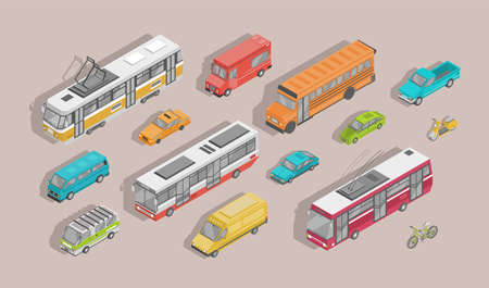 Bundle of isometric motor vehicles isolated on light background - car, scooter, bus, tram, trolleybus, minivan, bicycle, pickup truck, trailer. Set of city transportation. Vector illustration