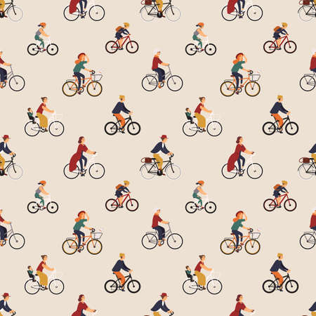 Seamless pattern with old and young people riding bikes or bicyclists. Backdrop with men and women on bicycles. Vector illustration in flat cartoon style for wrapping paper, fabric print, wallpaper Illustration