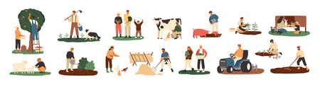 Conjunto de agricultores o trabajadores agrícolas que plantan cultivos, recolectan cosechas, recolectan manzanas, alimentan a los animales de granja, llevan frutas, ordeñan vacas, trabajan en el tractor. Ilustración de vector de dibujos animados plana