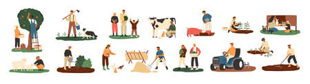 Set of farmers or agricultural workers planting crops, gathering harvest, collecting apples, feeding farm animals, carrying fruits, milking cow, working on tractor. Flat cartoon vector illustration