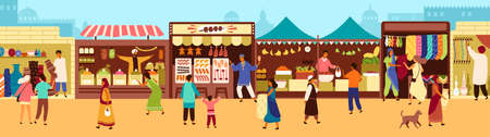 Arab or Asian outdoor street market, souk or bazaar. People walking along stalls, buying fruits, meat, traditional textile, oriental spices, pottery. Flat cartoon colorful vector illustration
