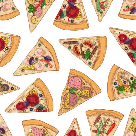 Seamless pattern with pizza slices on white background. Backdrop with delicious Italian meal, appetizing food. Colorful realistic vector illustration for textile print, wrapping paper, wallpaper Ilustração Vetorial
