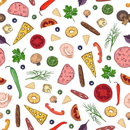 Seamless pattern with tasty ingredients or toppings for Italian pizza - ham, salami, pepper, cheese, mushrooms, pineapple cut into slices or pieces. Realistic vector illustration for wrapping paper Ilustração
