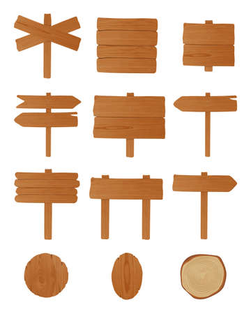 Set of signboards, guideboards and billboards made of unhewn wooden planks nailed together. Bundle of empty signposts isolated on white background. Cartoon design elements. Vector illustration