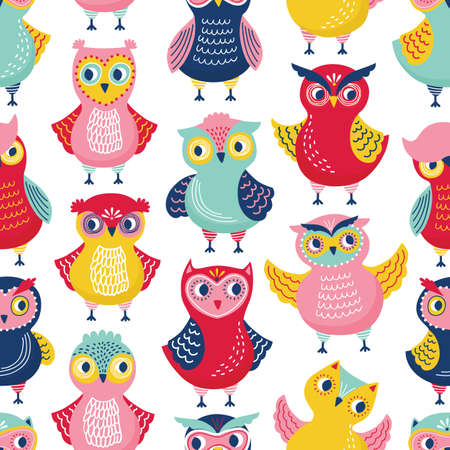 Seamless pattern with cute funny owls or owlets on white background. Childish backdrop with intelligent forest birds. Flat cartoon vector illustration for wrapping paper, wallpaper, textile print