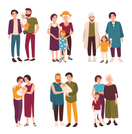 Collection of cute gay and lesbian couples standing together with their children. Happy homosexual families with kids. Flat cartoon characters isolated on white background. Vector illustration.