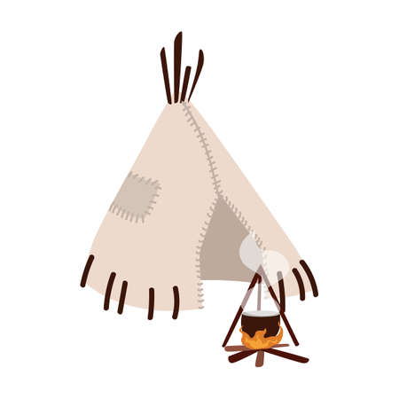 Wigwam, wickiup or wetu. Traditional tribal dwelling of indigenous peoples of America and bonfire isolated on white background. Ethnic hut made of skin. Flat cartoon colorful vector illustration Ilustracja