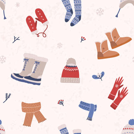 Seamless pattern with knitted apparel and winter boots on light background. Backdrop with woolen seasonal clothing and footwear. Flat cartoon vector illustration for wrapping paper, textile print.