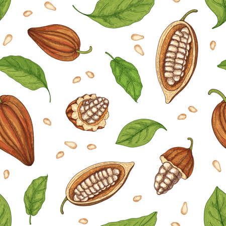 Natural seamless pattern with whole and cut ripe pods or fruits of cocoa tree, beans and leaves on black background. Realistic vector illustration in elegant vintage style for wallpaper, fabric print Vetores