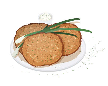 Pancakes, blini or crepes served on plate with scallion or green onion and sauce isolated on white background. Traditional meal of Russian cuisine. Delicious cooked breakfast. Vector illustration