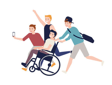 Group of crazy happy friends running, carrying boy sitting in wheelchair and making selfie. Friendship and support for man with physical impairment. Colored vector illustration in flat cartoon style