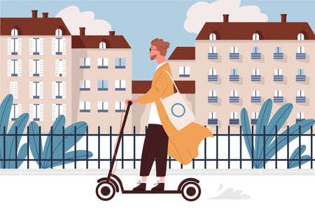 Feliz joven montando patinete motorizado o eléctrico a lo largo de las calles de la ciudad. Chico hipster sonriente con vehículo moderno o tipo de transporte. Ilustración de vector colorido en estilo de dibujos animados plana