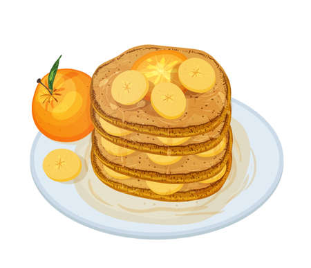 Delicious pancakes or oladyi topped with syrup and fruits lying on plate isolated on white background. Appetizing homemade dessert. Tasty cooked sweet breakfast. Colored cartoon vector illustration