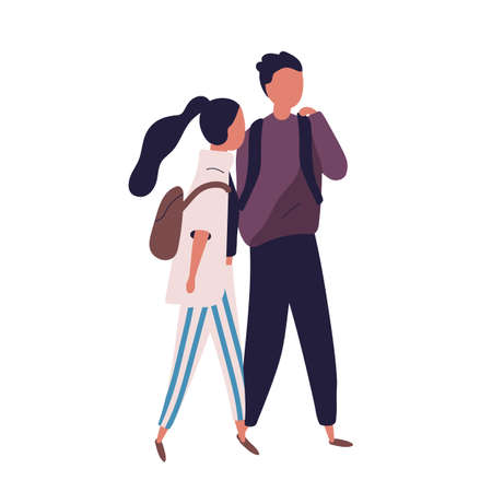 Pair of school teenage boy and girl. Funny students, pupils, classmates or friends walking together and having conversation, talking or chatting. Colorful vector illustration in modern flat style