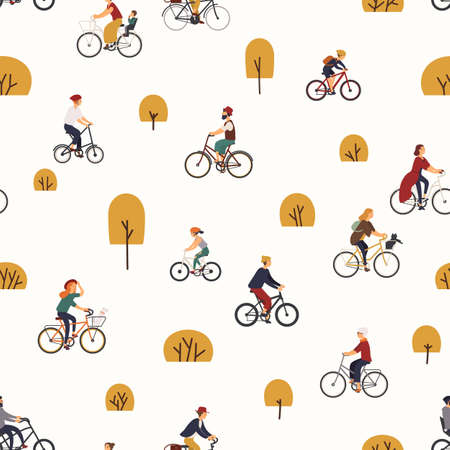 Seamless pattern with people riding bikes in autumn park with trees. Backdrop with men and women on bicycles. Vector illustration in flat cartoon style for wrapping paper, fabric print, wallpaper