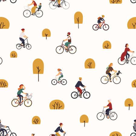 Modello senza cuciture con persone che vanno in bicicletta nel parco autunnale con alberi. Sfondo con uomini e donne in bicicletta. Illustrazione vettoriale in stile cartone animato piatto per carta da imballaggio, stampa su tessuto, carta da parati