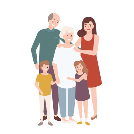 Happy family with grandfather, grandmother, mother, child girl and boy standing together and embracing each other. Funny cartoon characters isolated on white background. Flat vector illustration